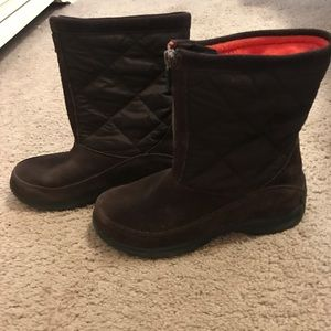 Lands End 176848 Quilted Brown Suede Snow Boots